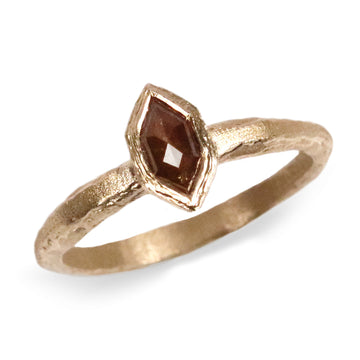 9ct Fairtrade Yellow Gold Etched Ring Set with Hexagonal Cut Brown Rose Cut Diamond