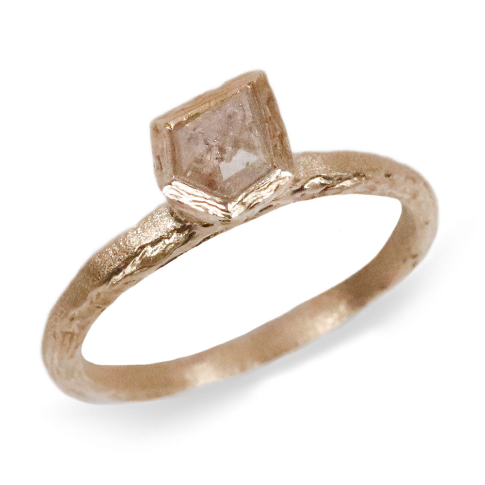 9ct Fairtade Yellow Gold Etched Ring Set with Grey Kite Rose Cut Diamond