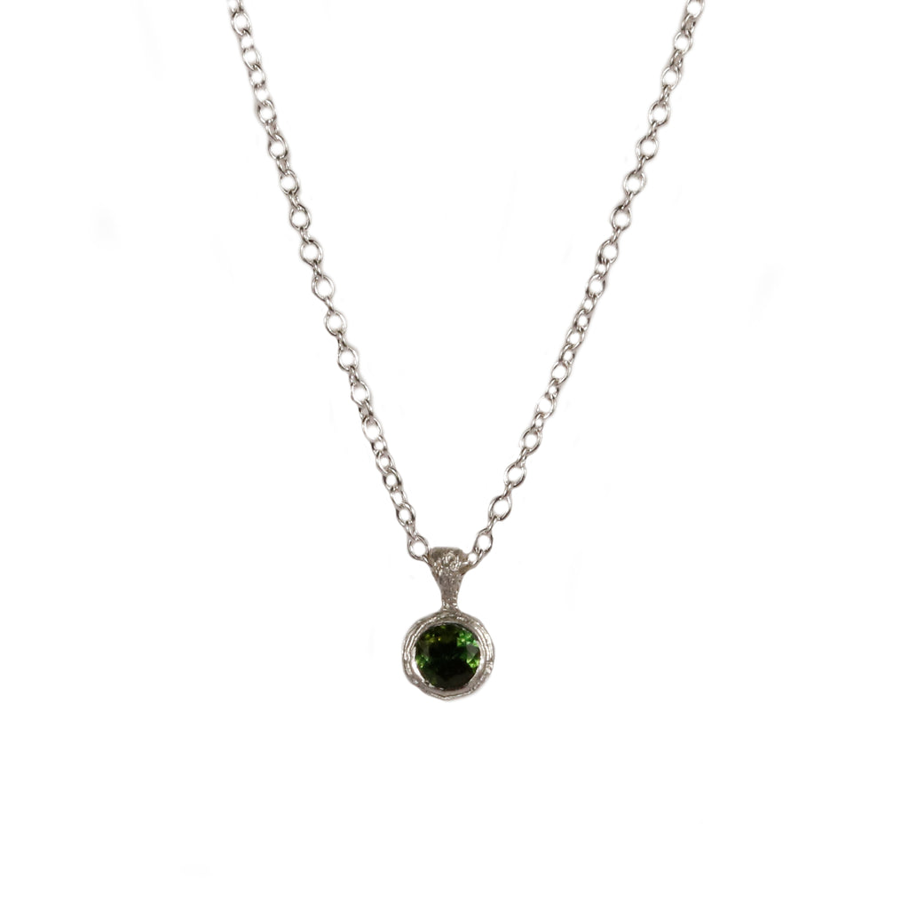 Green Tourmaline and Silver Pendant
