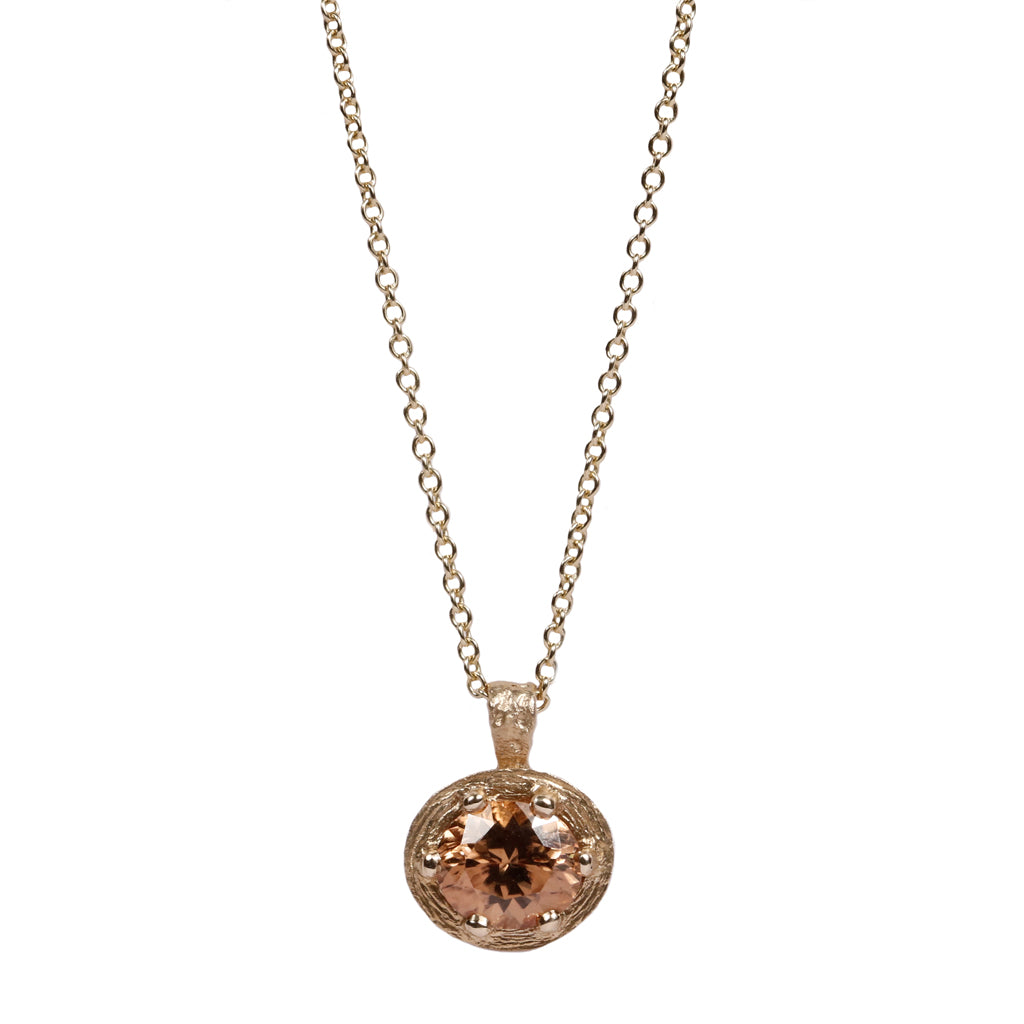 Champagne Zircon and 9ct Gold Pendant