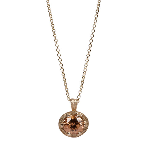 Champagne Zircon and 9ct Fairtrade Gold Pendant