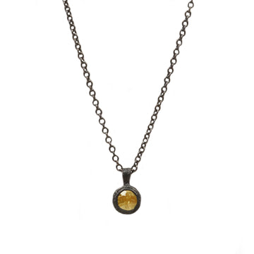 Yellow Sapphire and Oxidised Silver Pendant