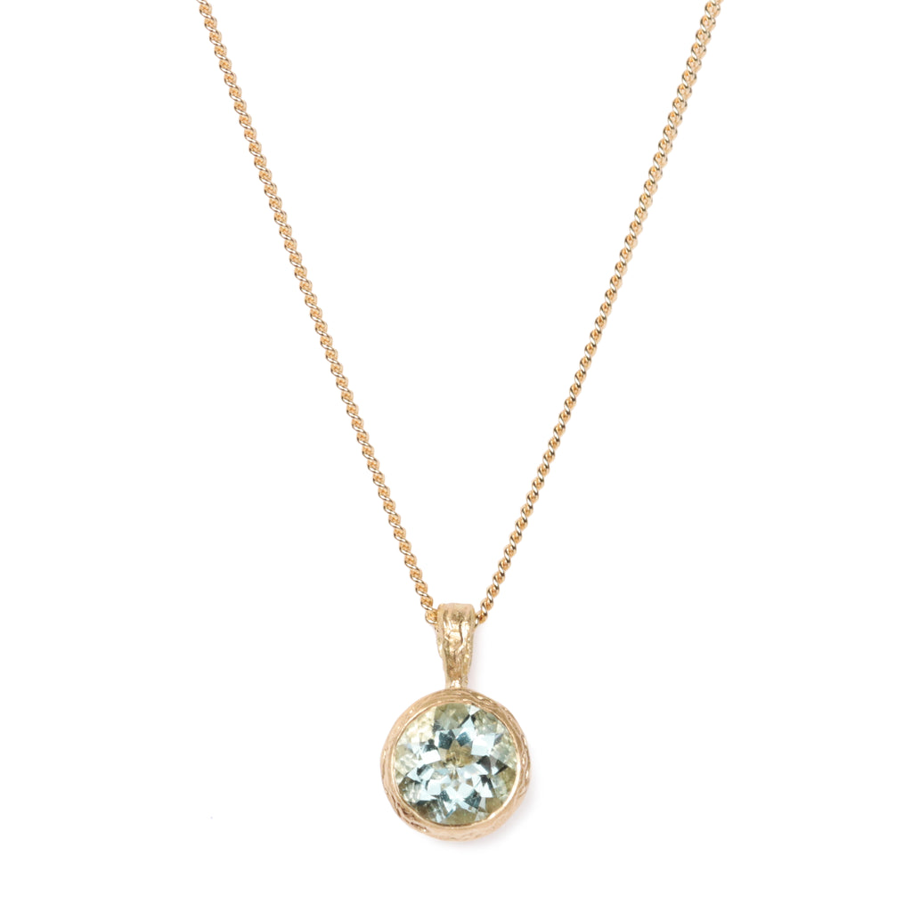 Diana Porter Contemporary Jewellery Aquamarine pendant necklace in 18ct yellow gold.