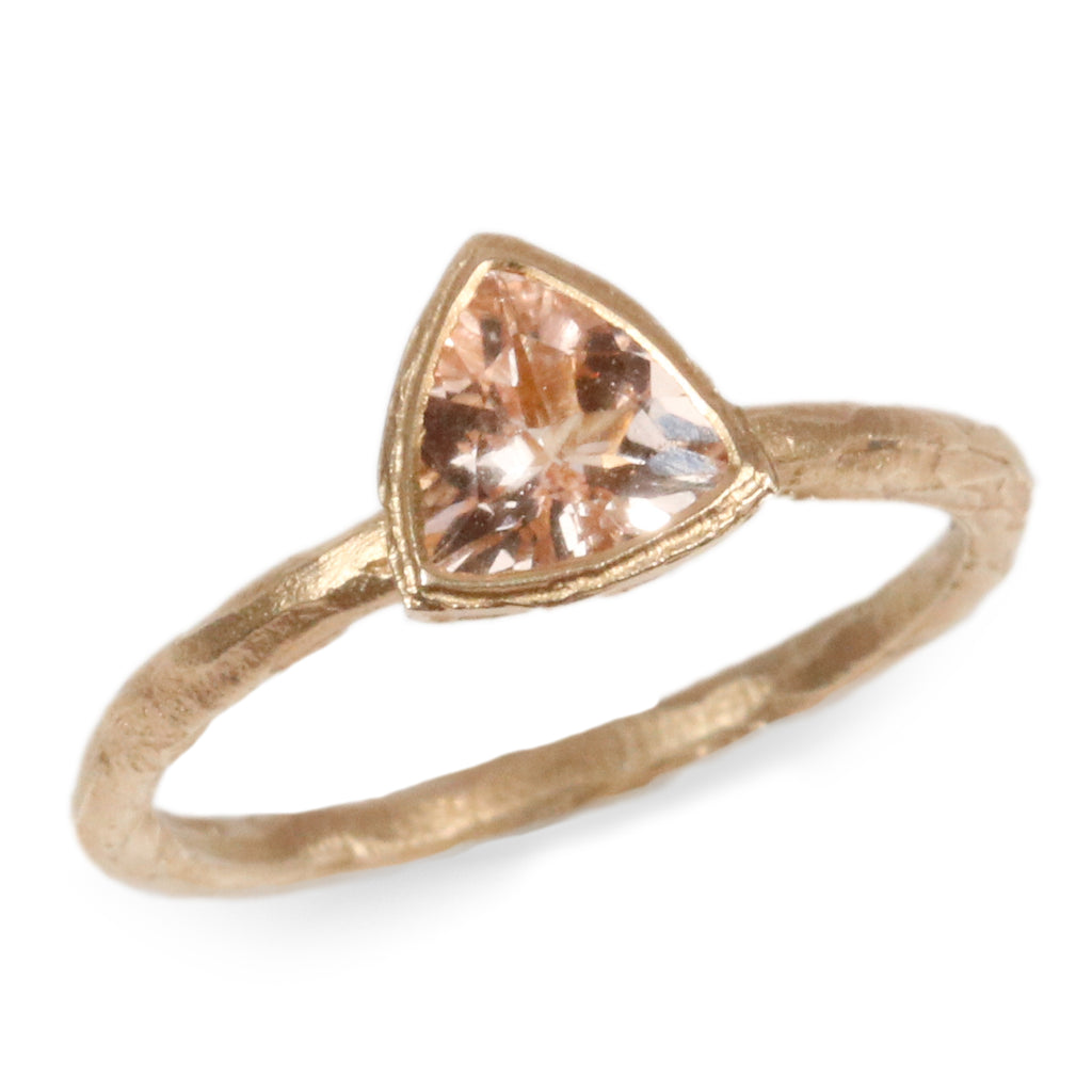 9ct Yellow Gold Ring with Trillion Cut Morganite