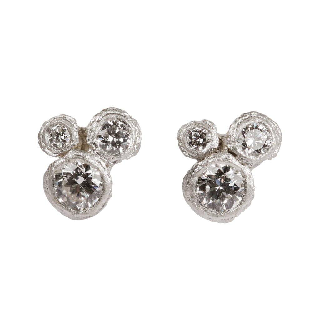 9ct White Gold Bud Diamond Ear Studs