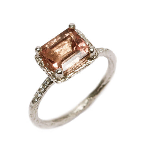 Pink Tourmaline and 9ct White Gold Ring