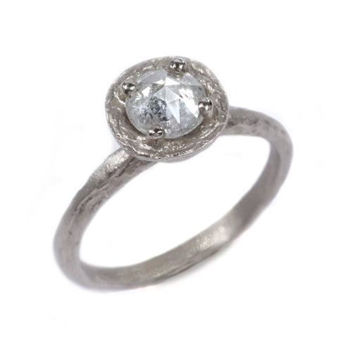 18ct White Gold Ring with Claw Set Salt and Pepper Rose Cut Diamond