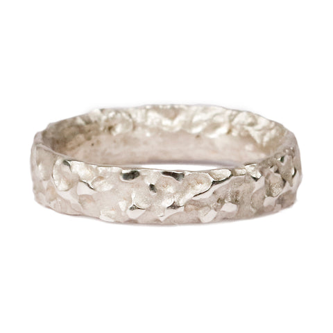 Narrow 9ct White Gold 'Molten' Ring
