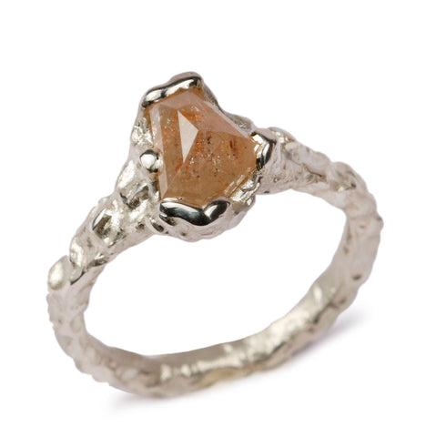 9ct White Gold Ring with 1.50ct Rose Cut, Peach Diamond