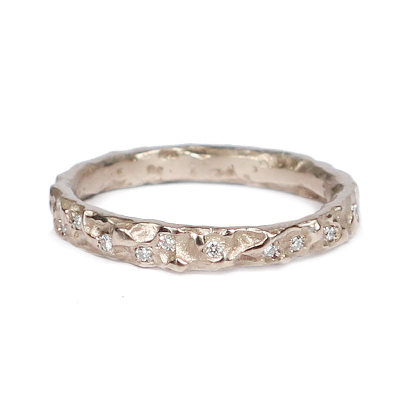 Slim 18ct White Gold 'Molten' Eternity Band with Scattered Diamonds