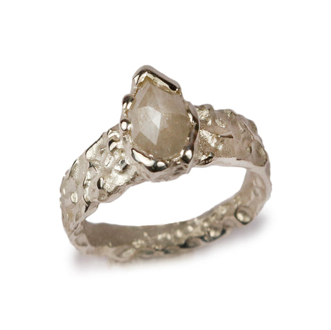 9ct White Gold Ring with 0.90ct Pear Grey Rose Cut Diamond