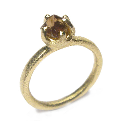 Small Rough Cut Diamond and 9ct Yellow Gold Ring