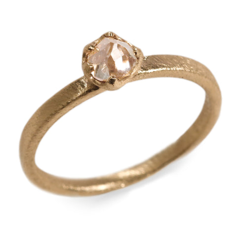 SOLD - 9ct Fairtrade Yellow Gold set with Champagne Free Form Diamond in Irregular Claw