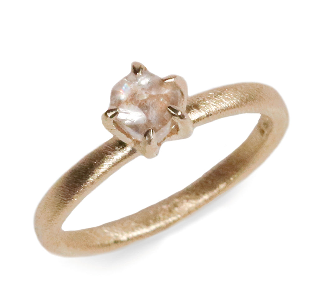 9ct Fairtrade Gold Ring Set with Rough Cut Diamond in Irregular Claw
