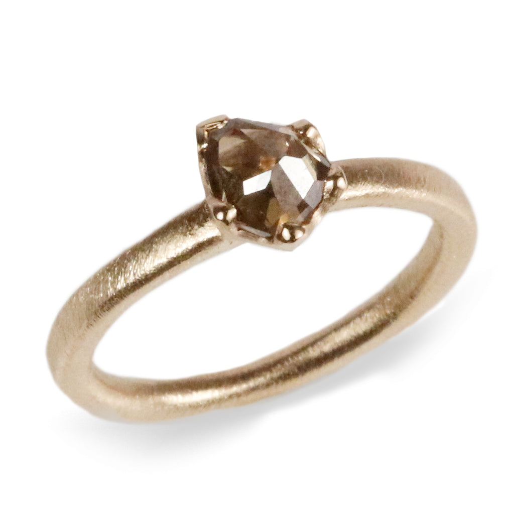 9ct Fairtrade Yellow Gold Ring Set with a Freeform 0.78ct Brown Diamond in Irregular Claws
