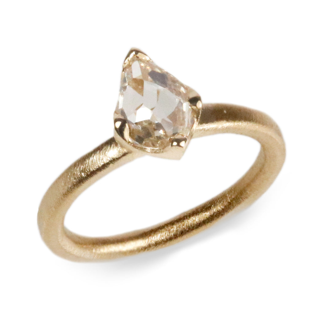 18ct Fairtrade Yellow Gold Ring Set with a Freeform 1.03ct Pear Diamond in Irregular Claws