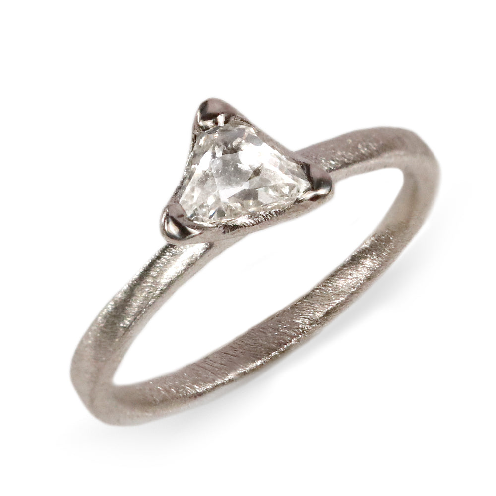 Platinum Ring with Claw Set Irregular Rose Cut Diamond