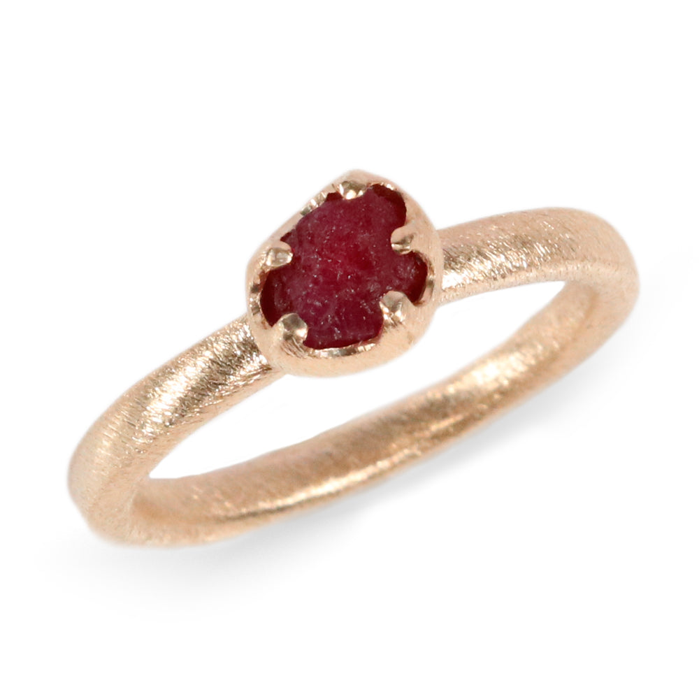 Rough Cut Ruby and 9ct Yellow Gold Ring