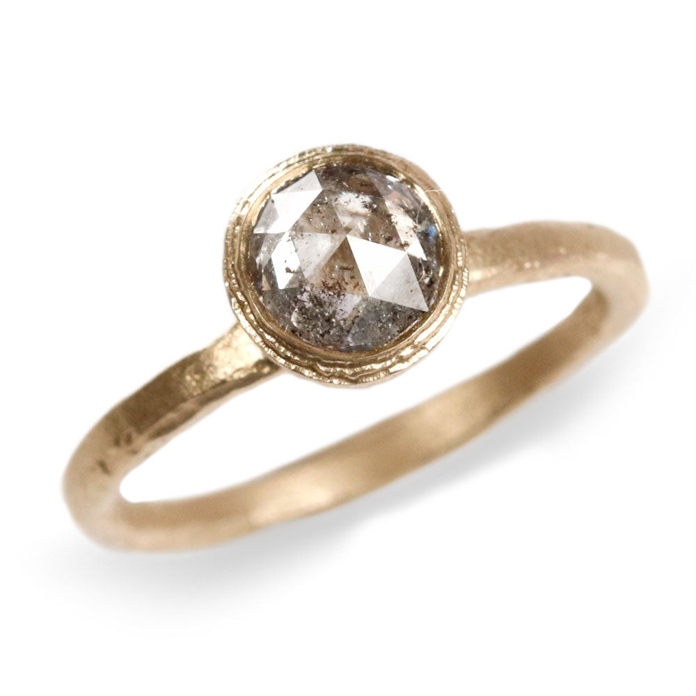 9ct Yellow Gold Etched Ring Set with Salt and Pepper Diamond