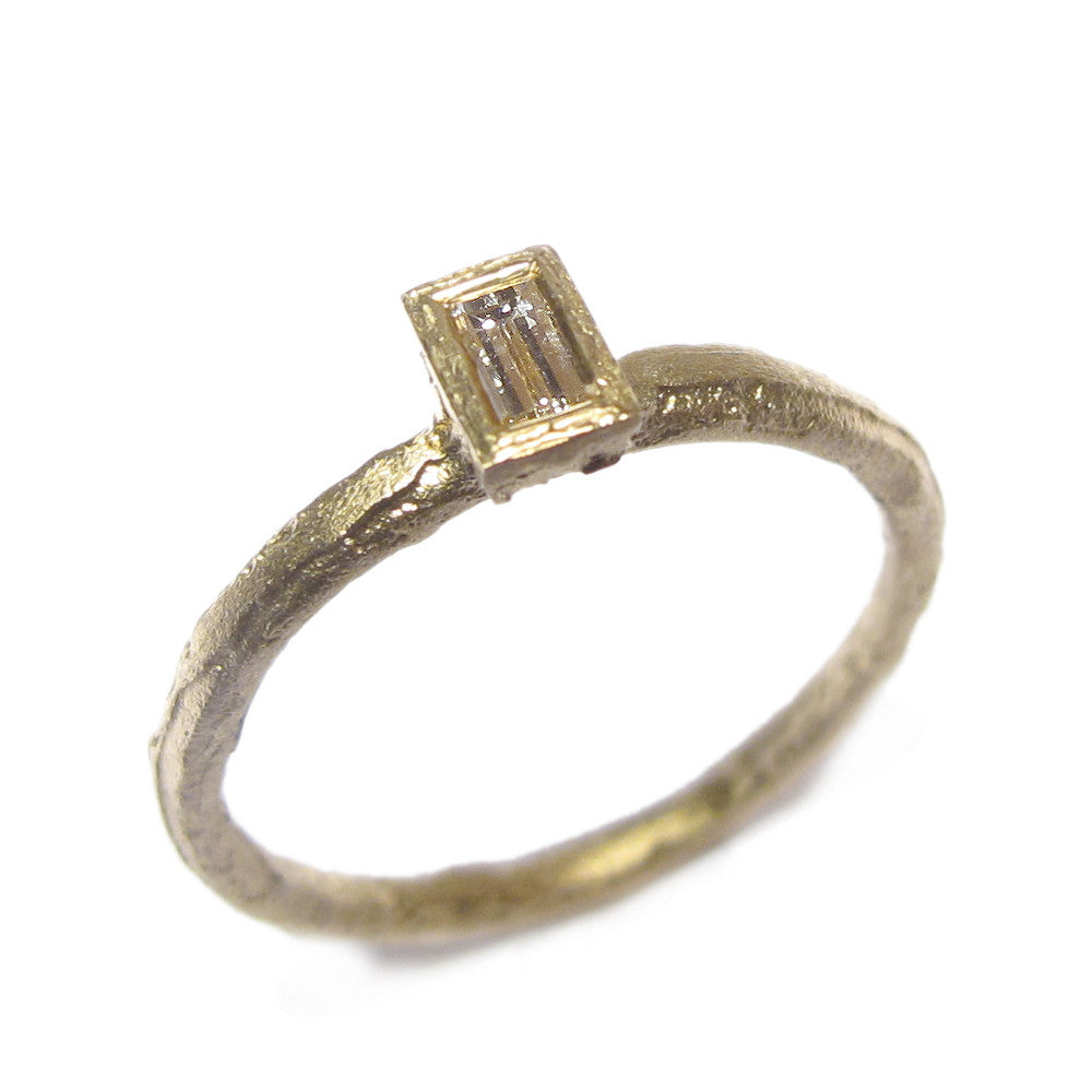 Baguette Cut Diamond and 9ct Yellow Gold Ring