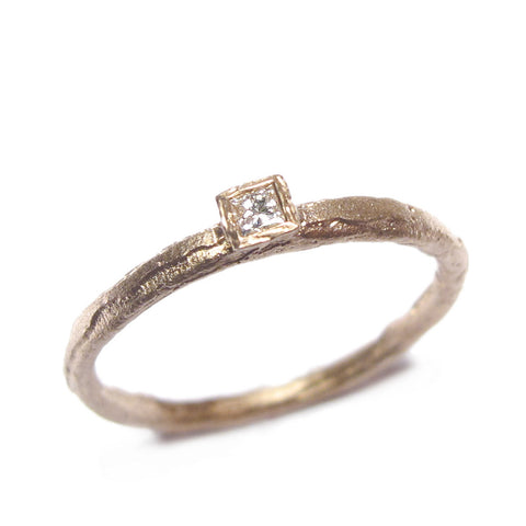 Princess Cut Diamond and 9ct Rose Gold Ring