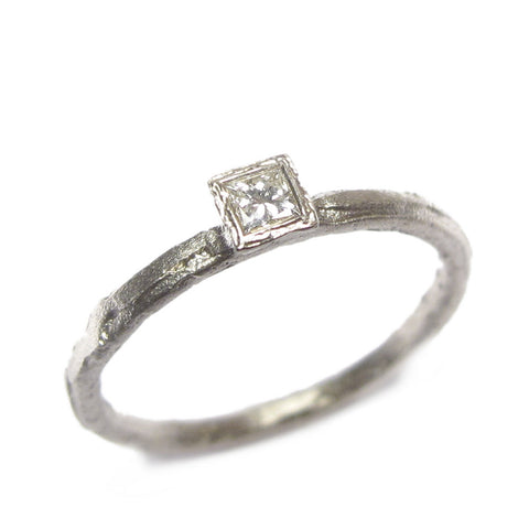 Princess Cut Diamond and 9ct White Gold Ring