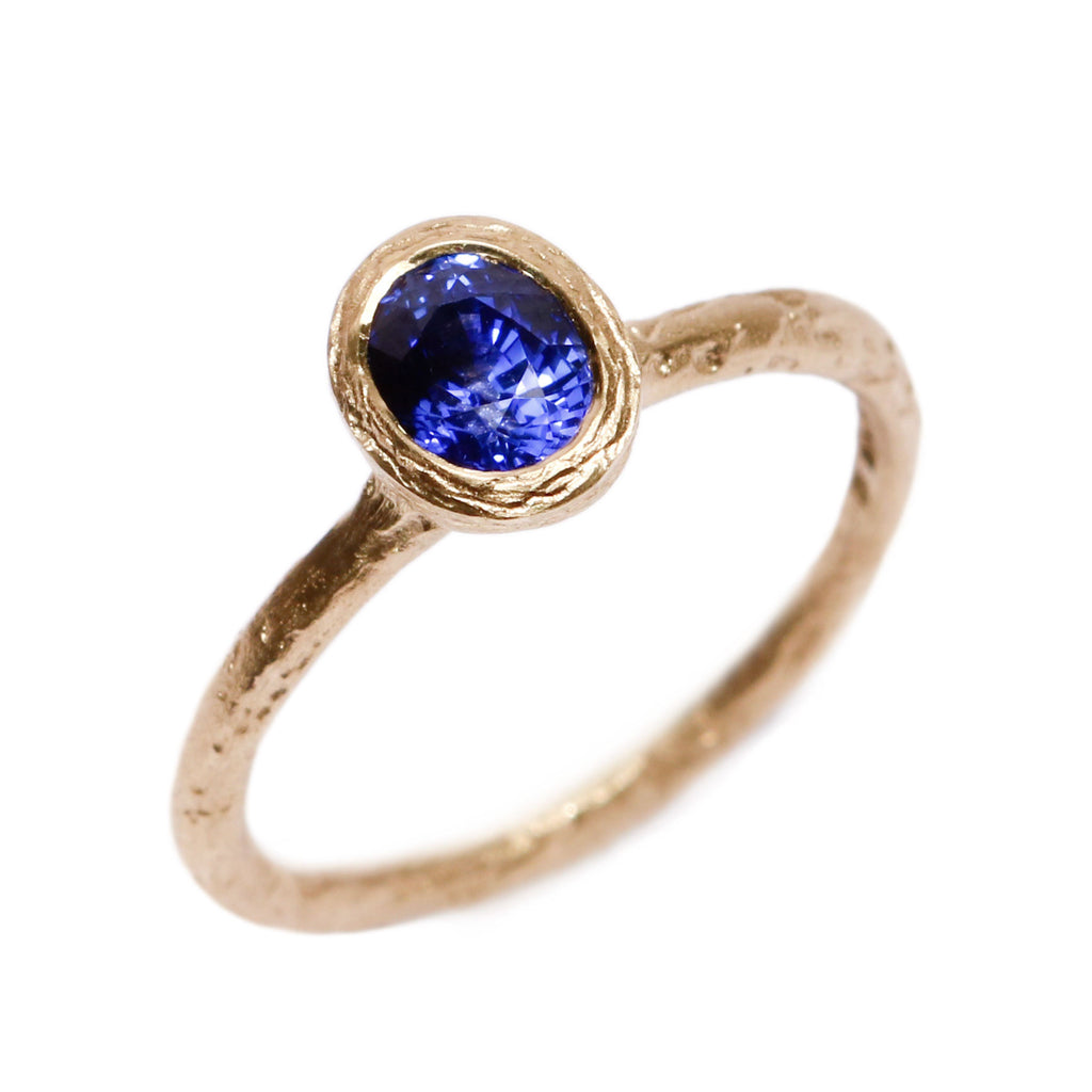 Small Cornflower Blue, Oval Sapphire and 18ct Yellow Gold Ring