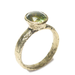 Diana Porter Jewellery unique green tourmaline yellow gold engagement ring