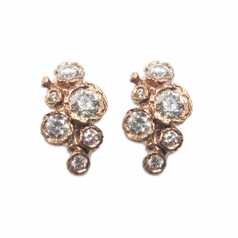 9ct Rose Gold and Twelve Diamond Ear Studs