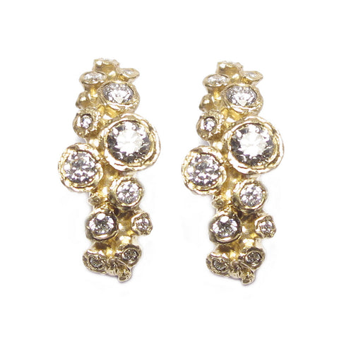 9ct Yellow Gold and Twenty Four Diamond Ear Studs