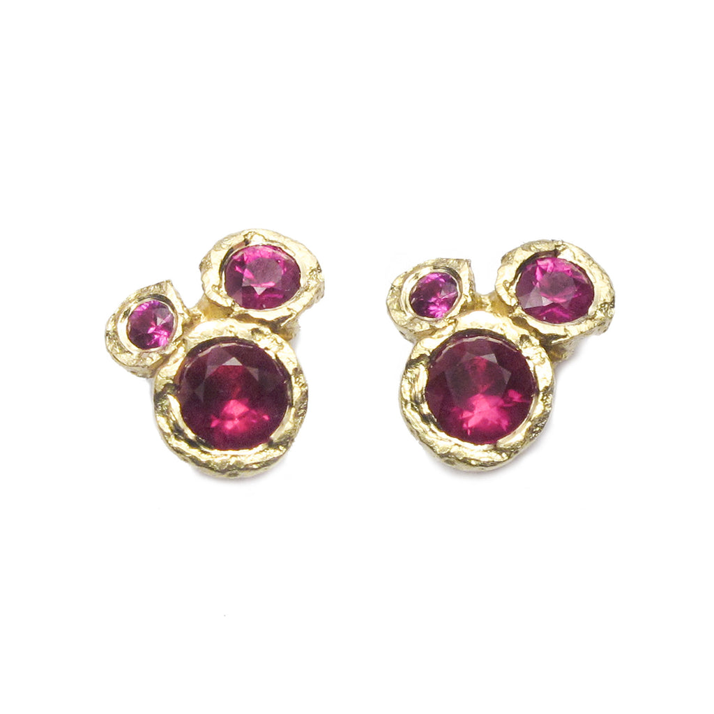 Diana Porter Jewellery contemporary ruby yellow gold earrings studs