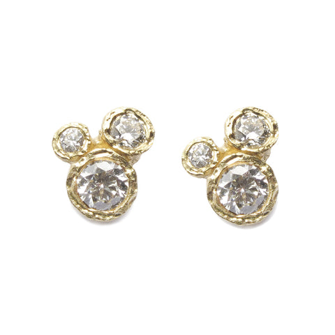 18ct Yellow Gold and Six Diamond Ear Studs