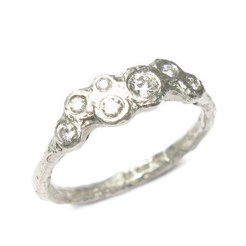 9ct White Gold and Seven Diamond Ring