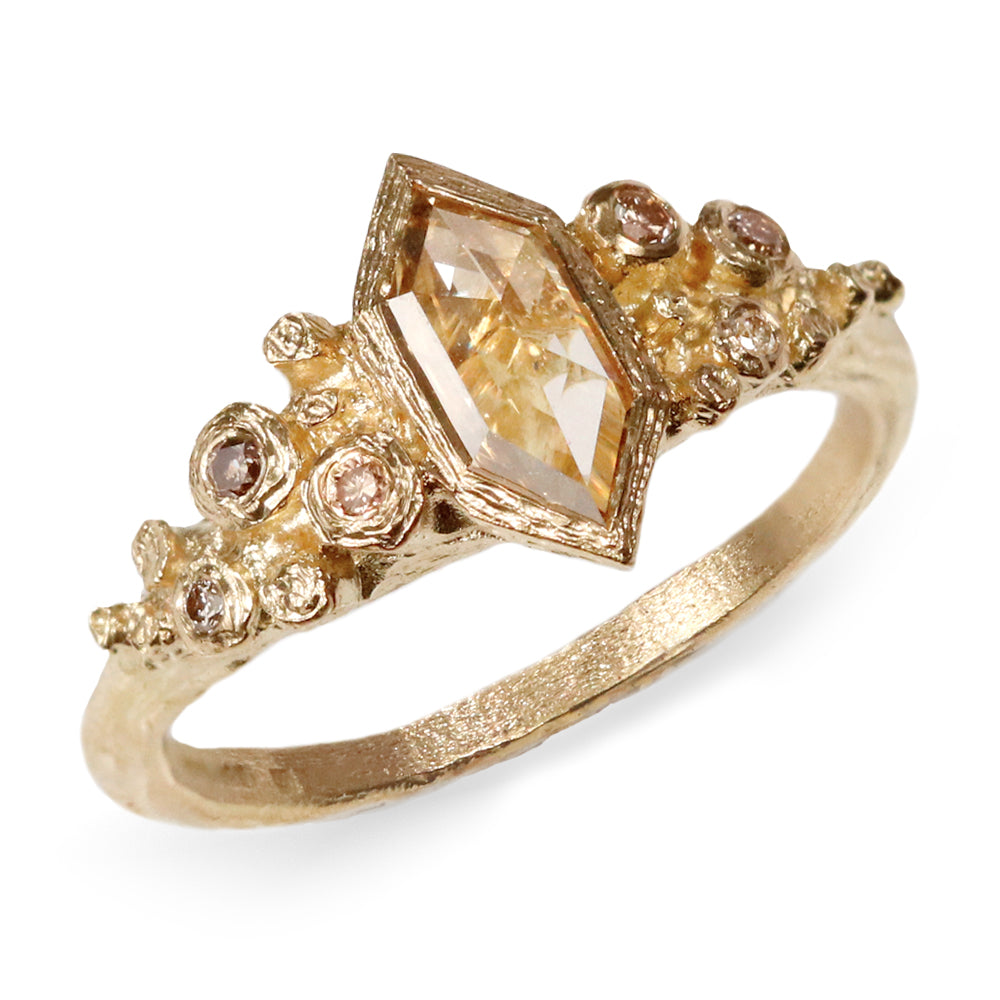 18ct Fairtrade Yellow Gold Ring Set with 0.53ct Champagne Hexagonal Diamond
