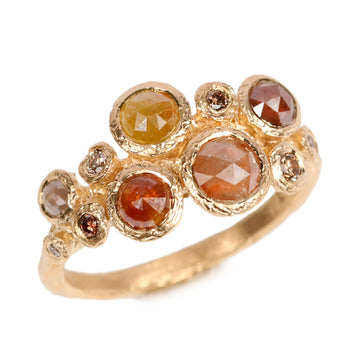 18ct Fairtrade Yellow Gold Ring Set with Eleven Brown Diamonds
