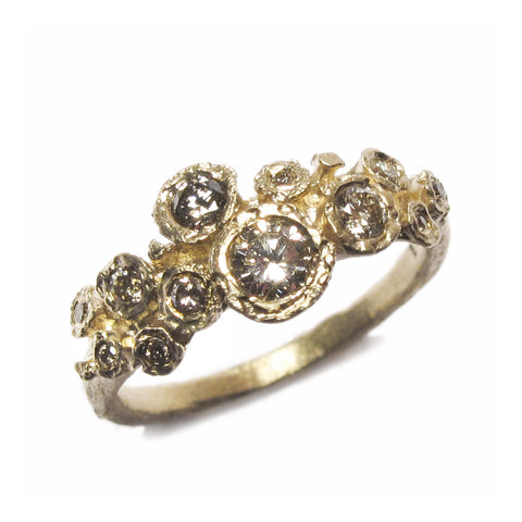 9ct Yellow Gold Multiset Ring with Twelve Brown Diamonds