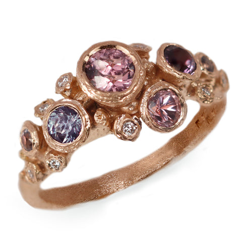 Fair Mind 18ct Rose Gold 'One-Of-Kind' Ring with six spinels and eight diamonds