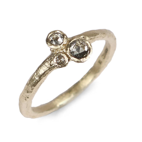 9ct Yellow Gold Ring with Three Rose Cut, Salt and Pepper Diamonds