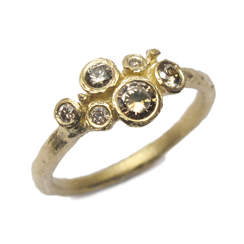 18ct Yellow Gold Multi set Ring with Six Brown Diamonds