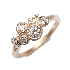 9ct White Gold Multi set Ring with Six White Diamonds