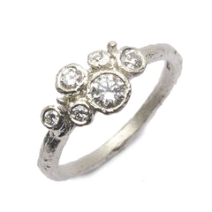 Diana Porter Contemporary Jewellery modern diamond and yellow gold engagement ring, multi set cluster ring