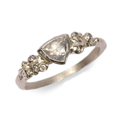 9ct Fairtrade White Gold Ring Set with Trillion Rose Cut Diamond and Small Diamonds