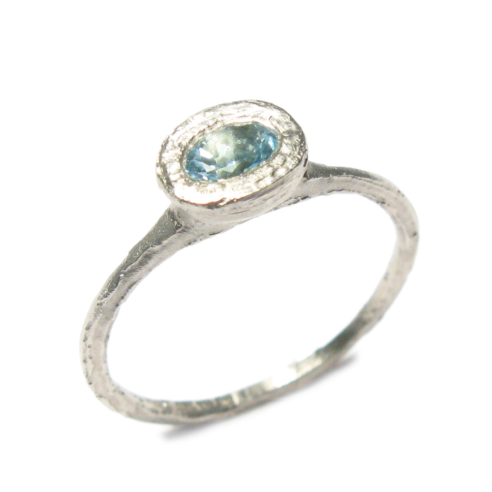 Textured 9ct White Gold Ring with 0.25ct Oval Aquamarine