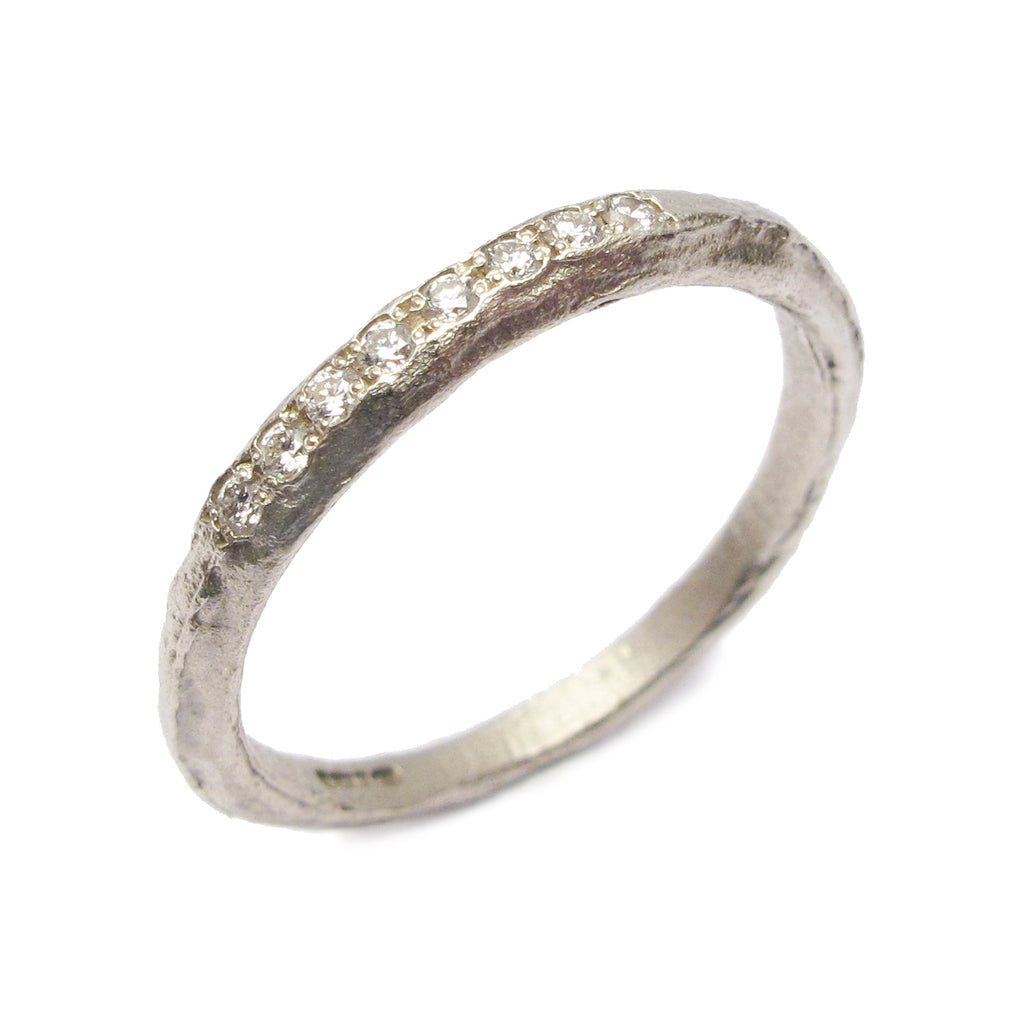 Slim, Textured 9ct White Gold Ring with 8 Grain Set Diamonds