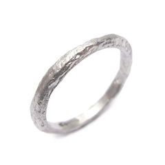 Slim, Textured 9ct White Gold Ring