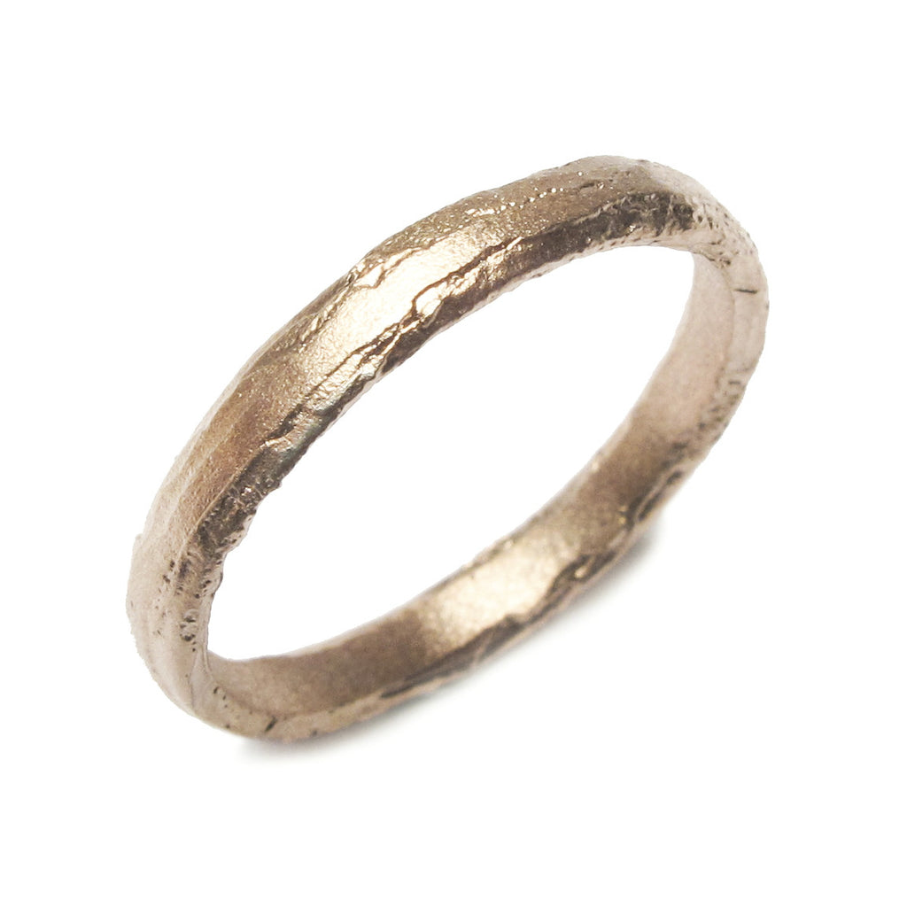 Narrow, Textured 18ct Yellow Gold Ring
