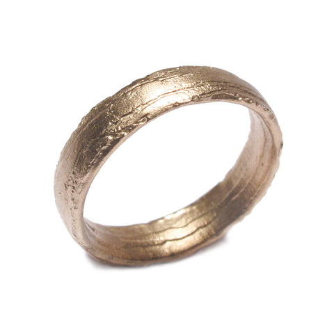 Broad, Textured 9ct Rose Gold Ring