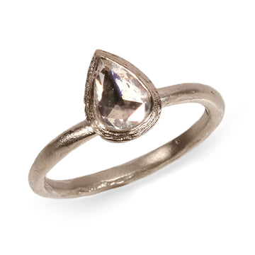 18ct Fairtrade White Gold Ring with a Pear Shaped Rose Cut Diamond