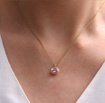 Morganite and 9ct Yellow Gold Pendant