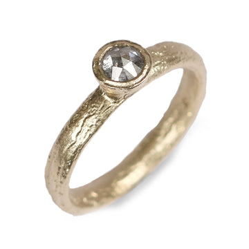 Diana Porter Contemporary Jewellery modern fairtrade gold solitaire ring with salt and pepper diamond